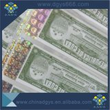 Código de barras de seguridad de fibra de UV billete con holograma de estampación en caliente