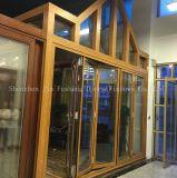Holz, das Aluminiumlegierung-Doppelt-Glasfalz-Tür schaut