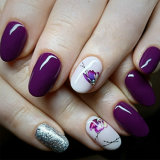Autocollants ongles sur les clous la floraison des fleurs de lavande des autocollants pour ongles Nail Art Stickers autocollants de transfert d'eau
