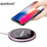 De alta calidad de forma redonda Smarphone Qi cargador inalámbrico portátil de Samsung