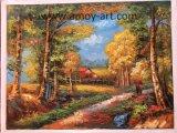 Pittura a olio originale Handmade di paesaggio di silvicoltura su tela di canapa