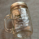 480ml Square Stock Glass Mason jar para beber com pega