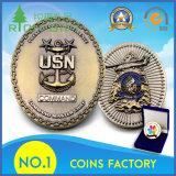 Metal personalizados de alta qualidade em liga de zinco em relevo o logotipo da âncora 3D banhado a ouro antigo Exército Militar Desafio Moeda com caixa de oferta
