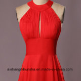 A - линия шифоновый длинний Bridesmaid одевает безрукавный открытое платье венчания мантий