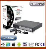 8CH DVR com H. 264 CIF de compressão ou D1 opcional