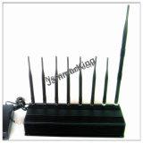 GSM900/1800+3G2100+2.4G WiFi + jammer de controle remoto do sinal de +Gpsl1+Lojack; Jammer/construtor estacionários do telefone de pilha de 8 faixas