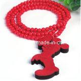Collar de madera roja de 2013 Bisutería Caballos Perros Animales cordones de forma ecológica de las cadenas (PN-130)