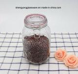 Conjunto de jarras de armazenamento de vidro com 3PC Cylinder Emboss com tampa de vidro hermética