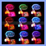 2.1A 5V flache Nudel-dünnes transparentes 12 Farbe LED helles USB-Kabel für iPhone/Samsung/Mac