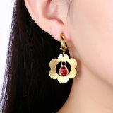 2017 boucles d'oreille réelles de goutte pour les oreilles de Zircon de forme de fleur de couleur d'or de modèle neuf