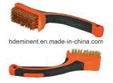El cepillo de alambre de acero americano más nuevo del estilo con la manija de madera, cepillo de alambre del cepillo Cepillo de alambre de cobre amarillo