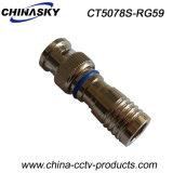 Connecteur BNC à compression manuelle CCTV imperméable à l'eau pour câble Rg59 (CT5078S / RG59)