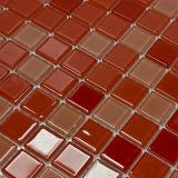 Miatamia Quadrada Red Brick Mosaicos de vidro para banheiro, 25*25mm