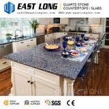 Bancadas de quartzo de pedra artificial azul para decoração