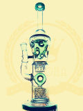 Borosilicat Pyrex Recycler-Mikroskop KLEKS Ölplattform-Recycler-Tabak-hohe Farben-Filterglocke-Glasfertigkeit-Aschenbecher-grünes Glas-rauchendes Wasser-Rohr