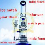 Il tubo di fumo di vetro spesso S11 all'interno del ghiaccio di vetro blu dei tubi di fumo di Perc Recycer della sfera di verde dentella i tubi di acqua femminili della giuntura 5mm di 18mm