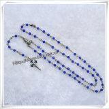 Chapado en plata de la naturaleza Opal cordones collares Cruz Rosario moda religiosa (IO-CR130)