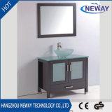 Suelo de cristal clásico del lavabo de madera sólida - cabina montada de la vanidad del cuarto de baño