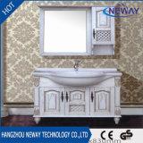 Suelo que coloca el diseño blanco de los muebles del cuarto de baño de madera sólida