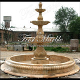 Trois fontaines travertines d'or fatigué pour l'artisanat Mf-459