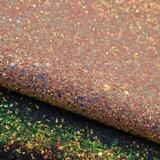 Couro sintético do plutônio da faísca elástica do Glitter para a sapata das mulheres da bolsa
