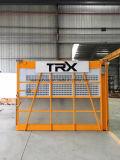 Gru della costruzione con le gabbie singole o doppie per materiale o il passeggero