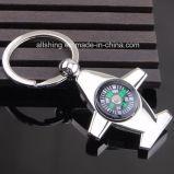 Chaîne de clés en métal Shapecompass d'avion pour des souvenirs de voyage