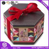 뚜껑 육각형 종이 버들고리 포장 상자를 가진 주문 덧대어깁기 패턴 선물 상자