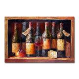 La clásica botella de vino pintura al óleo para la decoración del hogar