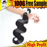 Unprocessed человеческие волосы, бразильское выдвижение человеческих волос 10A