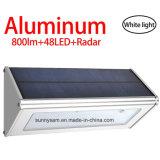 Lâmpada impermeável do sensor ao ar livre solar de Radarmotion da micrôonda do diodo emissor de luz da liga de alumínio 48 da luz da parede para o jardim