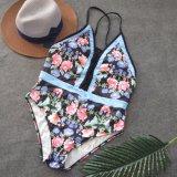 Schwarzes V-Stutzen der Frauen druckte Bikini abgedeckten Bauchhalter-Brücke-einteiligen Badeanzug