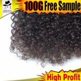 100%の加工されていない人間の毛髪を搭載するカーリーヘアーの製品
