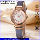 Relógio de pulso das senhoras de quartzo da cinta de couro de OEM/ODM (Wy-093E)