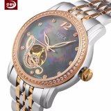 Het hoge Nauwkeurige Aangepaste Horloge van het Kwarts van de Pols van het Roestvrij staal van de Dames van het Embleem