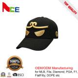 Panel-Hysteresen-Baseballmütze des Zoll-6 mit Stickerei-Firmenzeichen des Gold3d