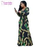Платье новой печати втулки шеи способа v длинней макси