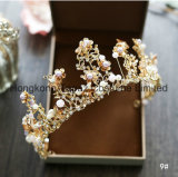 バロック式のレトロの花嫁のティアラのダイヤモンドのハンドメイドのビーズの王冠の結婚式の宝石類の水晶王冠(EC01)