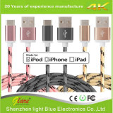 cavo Braided del USB del lampo del nylon di 3FT 6FT 10FT con la spina del metallo