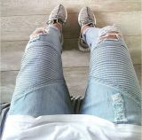 Novo look Biker Jeans homens sarja lavada Technics Lavar Biker Jeans Jeans