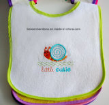 China Factory oem Produce Custom Design Embroidery Blue Cotton Terry baby Neck Bib