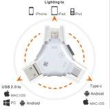 4 en 1 lector de tarjetas de memoria de adaptador de la tarjeta del SD con el tipo micro conector del USB/del USB del relámpago de la c para la cámara V del iPhone, del iPad, del mac, del androide, del rastro y del juego