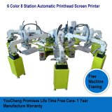 6 8 estaciones de color Carrusel automática máquina de impresión de pantalla