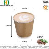 taza de papel de la ondulación 4oz del café disponible de la pared para la prueba