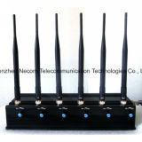 2G / 3G 29dBm de agarrotamiento de la señal de Teléfono móvil Teléfono móvil y WiFi Jammer 1-50m