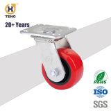 Industrieller Schwenker rote PU-Fußrolle