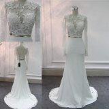 Элегантный кружевом длинной втулки мягкой атласной Русалки вечер устраивающих платье свадебные платья