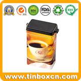Rectangular de metal personalizados Coffee Tin Caja con tapa hermética de plástico