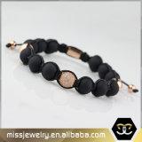 Kundenspezifischer umsponnener Achat-wulstiges Armband für Männer Mjb004