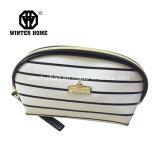 Weiß Stripes PU-lederne Mädchen-kosmetischen Schönheits-Beutel